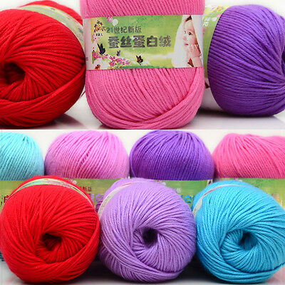 Lot Chunky Yarn Knitting wool Silk Protein cashmere Crochet baby soft cotton 50g 8