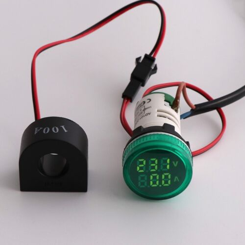 2in1 22mm AC50-500V 0-100A Amp & Voltmeter Ammeter Voltage Current Meter w/ CT 11