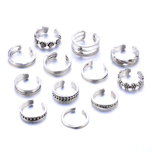 12PCs/set Adjustable Jewelry Retro Silver Open Toe Ring Finger Foot Rings New 3