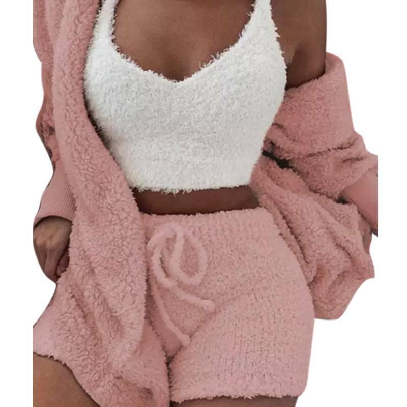 Women Fleece Sleepwear Hoodie Jacket + Crop Top + Shorts 3PCS Outfits Loungewear 4