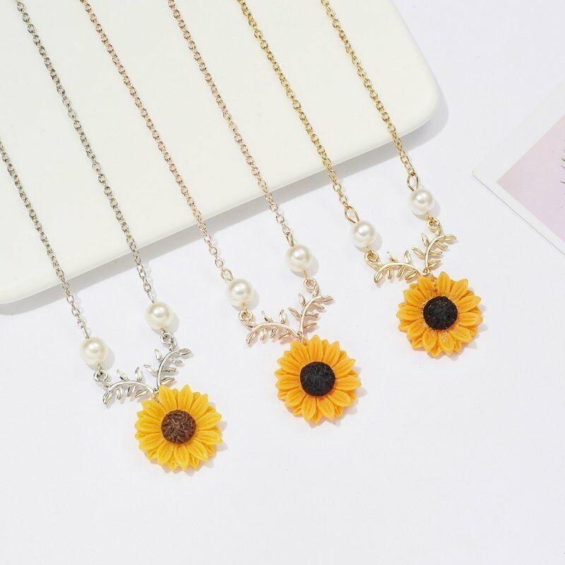 New Fashion Sunflower Pearls Pendant Necklace Choker Chain Women Jewelry Gift 2
