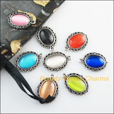 8Pcs Mixed Retro Tibetan Silver Cat Eye Stone Oval Charms Pendants 16.5x23mm 4