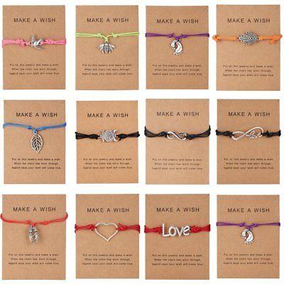 NEW Women Wish Bracelet Love Heart Owl 8 Charms Handmade Rope Card Jewelry Gifts