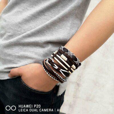 5/6pcs Fashion Mens Punk Leather Wrap Braided Wristband Cuff Bangle Bracelet New 4
