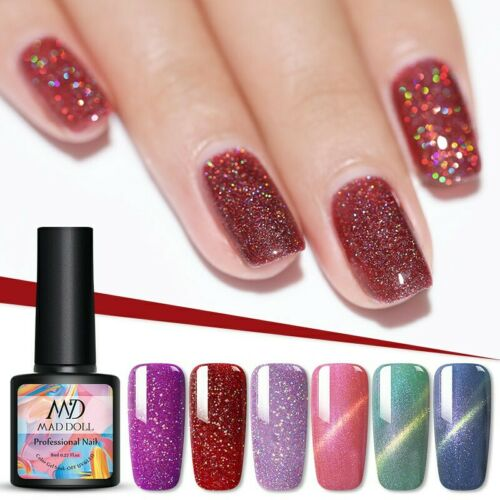 MAD DOLL 8ml Nail Glitter Sequins UV Gel Polish Soak Off Nail Art Varnish Decors 4