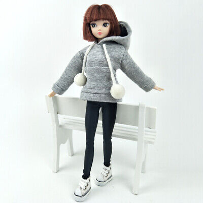 """Gray Sweatshirt Coat For 11.5"""" Doll Clothes Outfits Pants Canvas Shoes 1/6 Toy 3"""