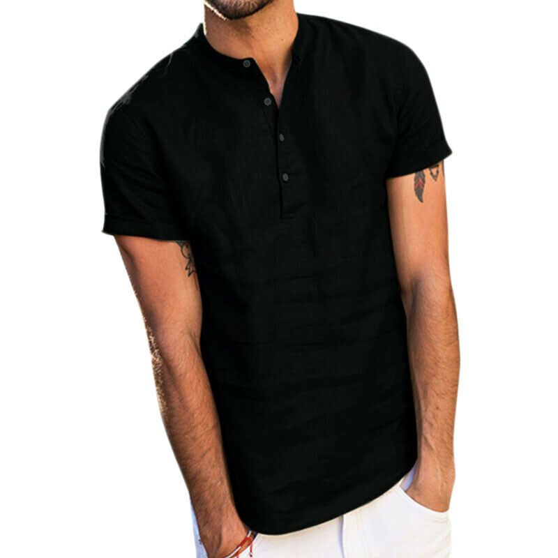 Mens Standing Collar Short Sleeve Soft Solid Tops Summer Beach Holiday T Shirts 5