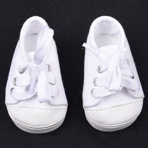 Handmade Canvas White Shoes for 18inch Doll Cute Baby Kids Toys 8