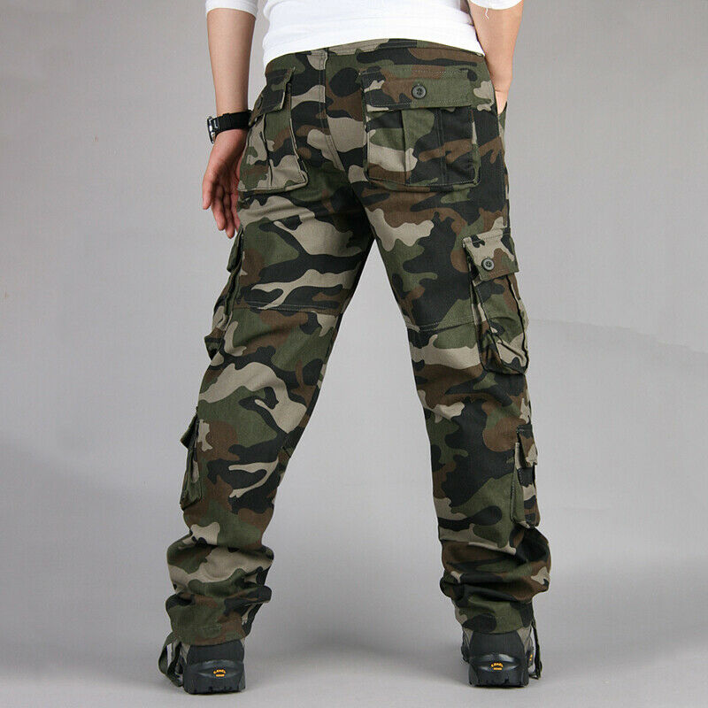 Mens Military Combat Trousers Camouflage Cargo Camo Army Casual Work Long Pants 7