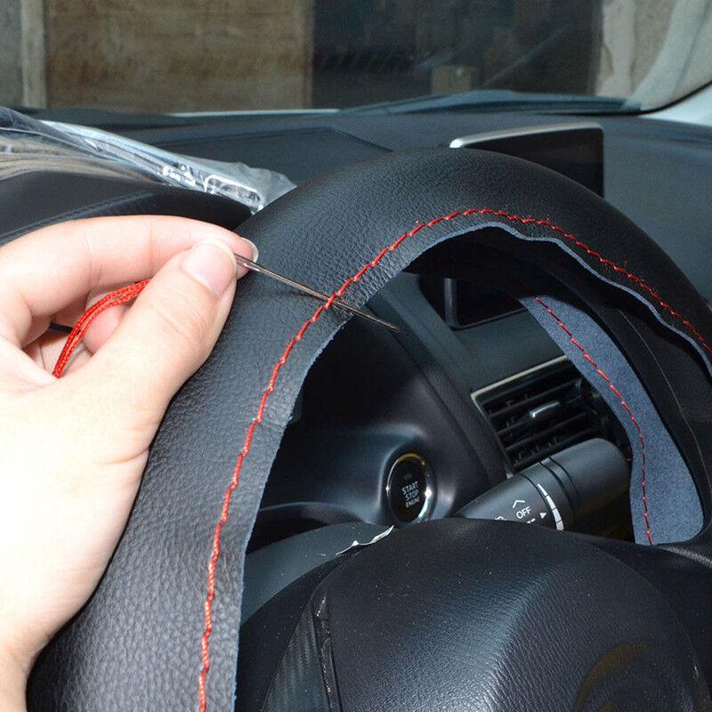 Coprivolante per auto in pelle nera e rossa fai da te 38 cm con ago e filo BHQ 7