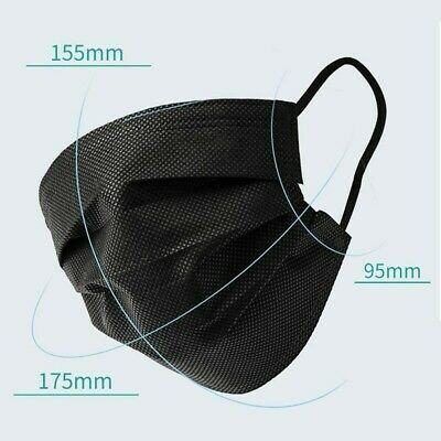 [50Pcs]Black Face Mask Disposable Non Medical Surgical 3-Ply Earloop Mouth Cover 2
