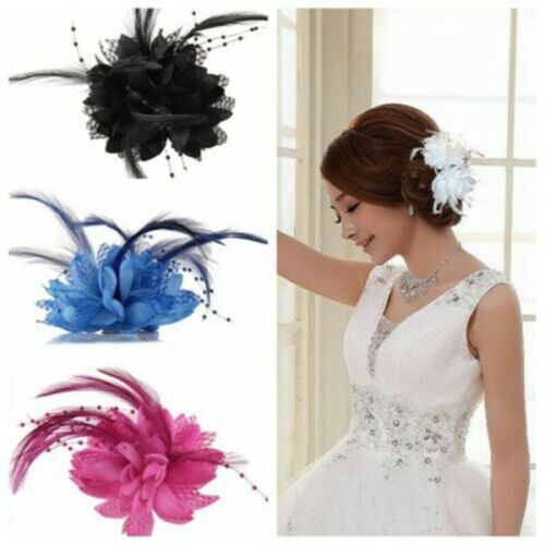 Women Ladies Flower Feather Fascinator Bridal Bead Corsage Hair Clips Hairband 10