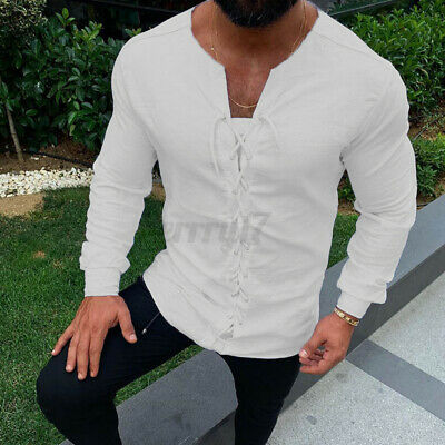 UK Mens V Neck T shirt Lace Up Long Sleeve Sim Fit Causal Tops Stag Party Blouse