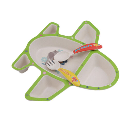Infants Airplane Tableware Multicolor Plate Food Tray With Spoon Fork Dishes 6A 12