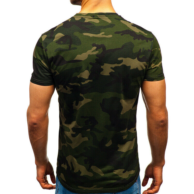 Mens City Camouflage Tactical Military Short Sleeve Army Camo T-Shirt Blouse Top 7