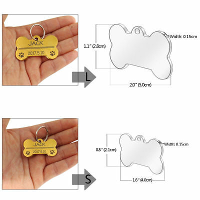 Bone Shape Custom Personalized Engraved Dog Tag Pet Cat Name ID Tag Phone Tag 2