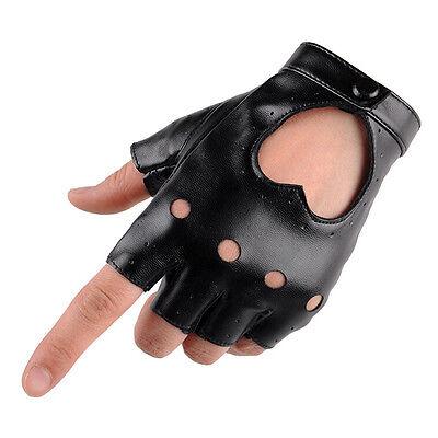 Women Punk Leather Driving Biker Fingerless Mittens Dance Motorcycle Gloves V_MR 5