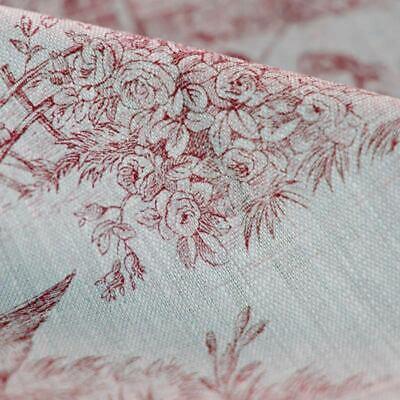 Lin Toile de Jouy impression bleue sur écru French Fabric