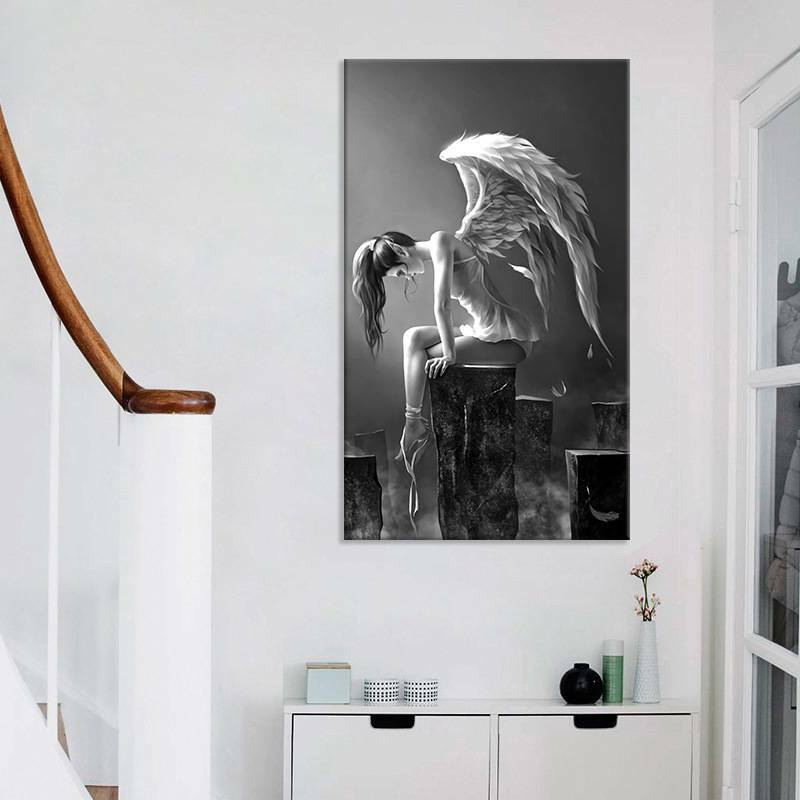 Black White Lost Angel Picture Canvas Prints Painting Wall Hanging Decor DIY 3