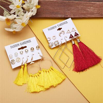 6Pairs Boho Tassel Crystal Pearl Earrings Set Women Ear Stud Dangle Jewelry Gift 9