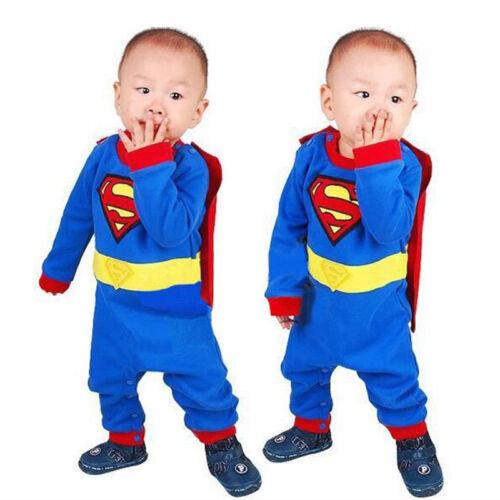 Baby Mädchen Jungen Kleidung  Body Overall Strampler Superheld Sommer Outfit DE