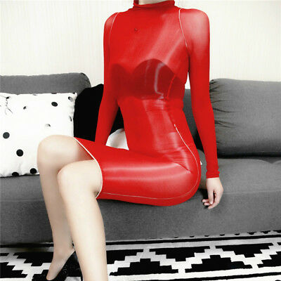 Women Glossy Oil Shiny Bodystocking See Through Sheer Bodysuit Tights Bodyhose 3