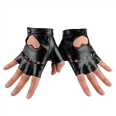 Women Punk Leather Driving Biker Fingerless Mittens Dance Motorcycle Gloves V_MR 7