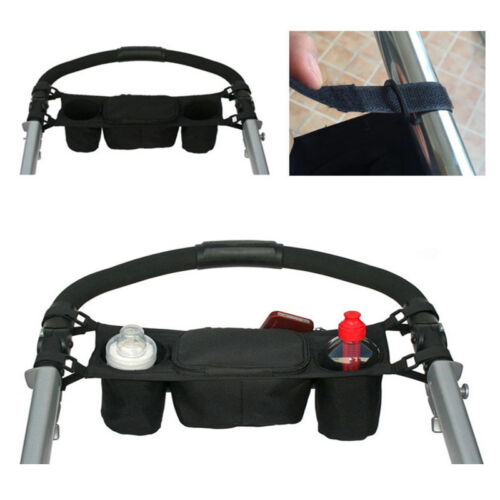 New Baby Stroller Cup Holder Safe Console Tray Pram Hang Black Bag Bottle Holder