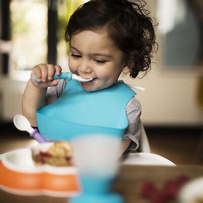 Weich-PVC Bibs Baby Lätzchen Latzchen für Mädchen Jungen mit Auffangschale Neu 6