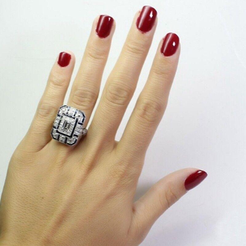 Frauen Männer Antik Art Deco Große Silber Blau Saphir & Diamant Ring Party Rings 4