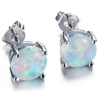 6MM Fire Opal Stud Earring Genuine 925 Sterling Silver Wedding Cocktail Party