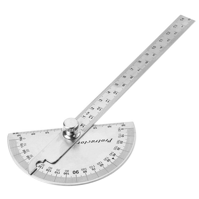 15cm 180 Degree Adjustable Protractor multifunction stainless steel angle rulerF 2