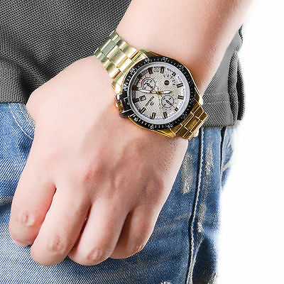 Luxury Mens Black Dial Gold Stainless Steel Date Quartz Analog Sport Wrist Watch 5