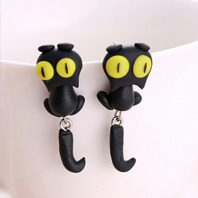 1 Pair Fashion Jewelry Women's 3D Animal Cat Polymer Clay Ear Stud Earring J&S 5