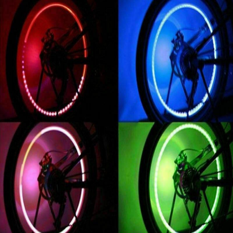 4X Waterproof LED Tyre Wheel Valve Cap Tire Light 7 Color Car Bicycle Motorcycle 7