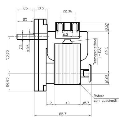 Motoriduttore Kenta per stufe pellet K9117156 vel 5 rpm Pacco 40 mm diam 8,5 mm 4