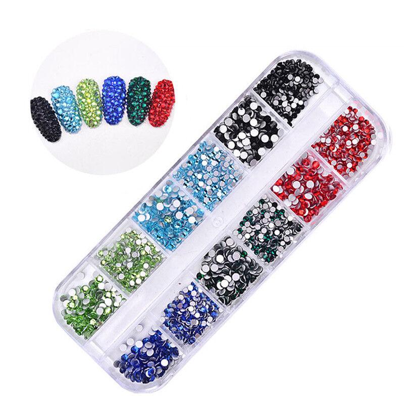 1440pcs Flat Back Nail Art Rhinestones Glitters Diamonds 3D Tip Manicure Decor 2