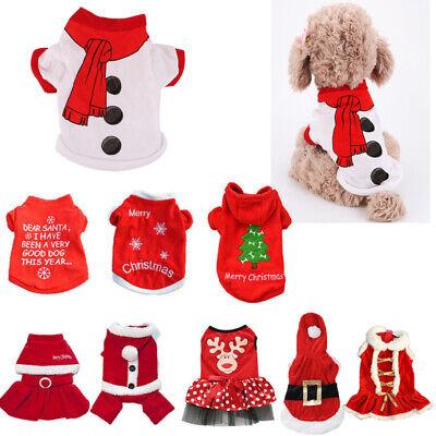 Cute Dog Puppy Christmas Santa Warm Costumes Coat Clothes Pet Apparel Shirt US 2