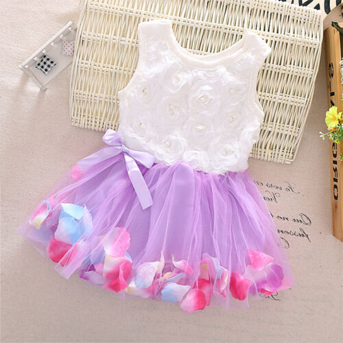 Newborn Flower Pageant Princess Dress Baby Girl Wedding Party Tutu Dresses 6-24M 8