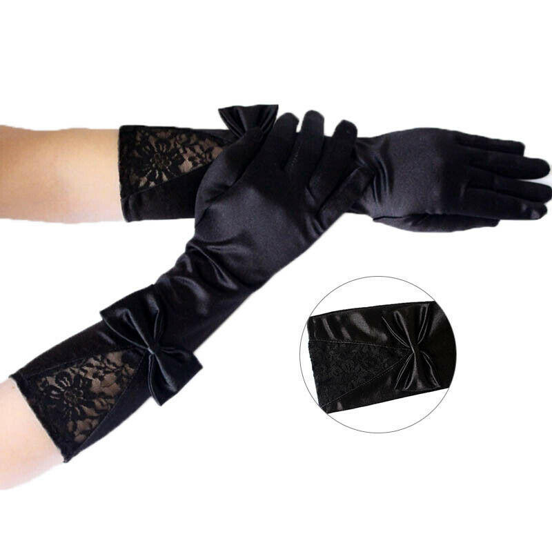 Women Black Lace Patchwork Satin Gloves Bowknot Sexy Clubwear Party Dance G RAS 5