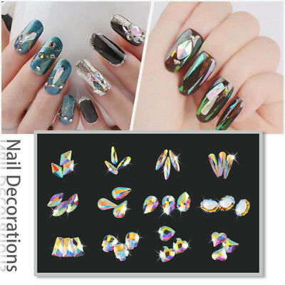 20 50 100pcs 3D Nail Art Rhinestones Flat Shaped Elongated Glass Colorful Stones 2