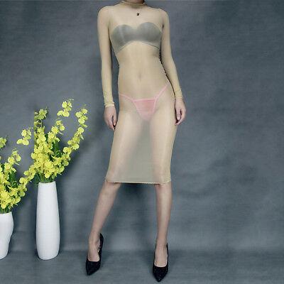 Women Glossy Oil Shiny Bodystocking See Through Sheer Bodysuit Tights Bodyhose 4