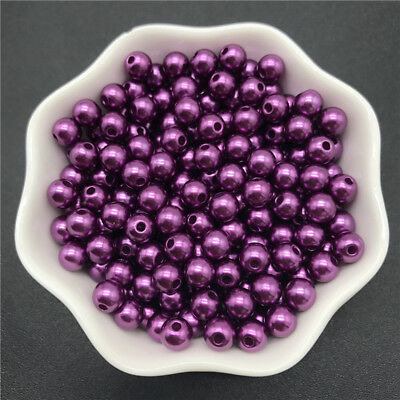 4mm-10mm Acrylic Spacer Beads Round Pearl Spacer Loose Beads For Jewelry Making 12
