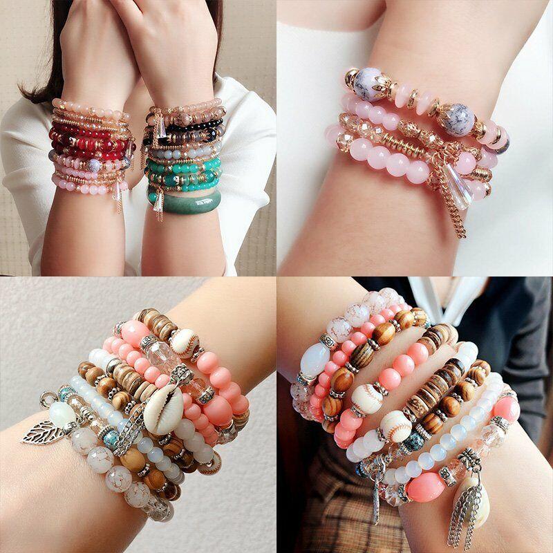 Boho Multilayer Natural Stone Bead Tassel Pendant Chain Bracelet Charm Women Set 7