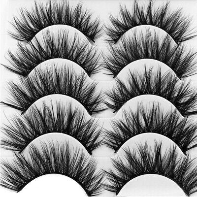 5Pair 3D Mink False Eyelashes Wispy Cross Long Thick Soft Fake Eye Lashes  UK 6