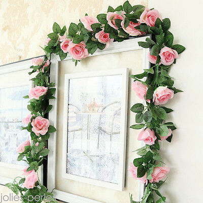 2.25m Artificielle Rose Guirlande de soie Fleur Mariage Party Home Decor 5