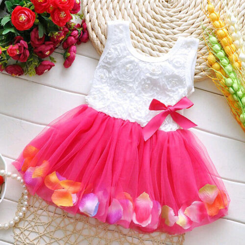 Newborn Flower Pageant Princess Dress Baby Girl Wedding Party Tutu Dresses 6-24M 6