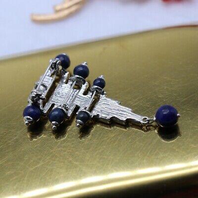 Broche Argenté Art Déco Triangle Perle Lapis Lazuli Bleu Plaqué Argent 925 QD6 5