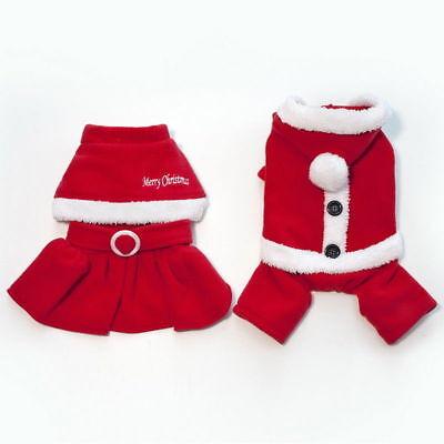 Pet Dog Puppy Santa Shirt Christmas Clothes Costumes Warm Jacket Coat Apparel 9