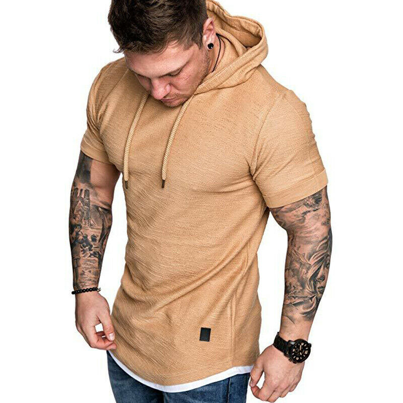 Gym Men Sleeveless Vests Pullover Hoody Hooded Tank Tops Muscle Clothes T-Shirts 7